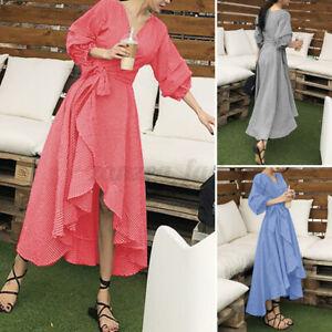 ZANZEA Womens Sundress Puff Sleeve Dress Plaid High Low Irregular V Neck Dress