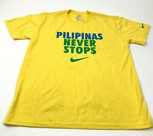 Nike Yellow Shirt Men's Size 2XL XXL Standard Short Sleeve PILIPINAS NEVER STOP