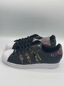 Adidas Originals Superstar Women's Sneakers White Black Floral Shell Toe Shoes