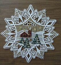 PLAUENER SPITZE ® Fensterbild STERN Schneeflocke KIRCHE Weihnachten WINTER weiß