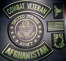 US ARMY COMBAT VETERAN AFGHANISTAN MILITARY LOT OF 6 PATCHES MOTORCYCLE VEST