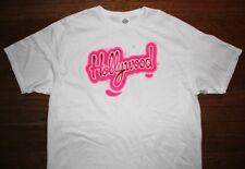 HOLLYWOOD / LOS ANGELES USA / FASHION DESIGN / PINK LOGO / WHITE T-SHIRT SIZE XL