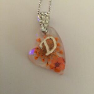 HEART  SHAPED PENDANT WITH REAL FLOWERS AND YOUR NAME INITIAL D