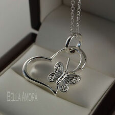 """925 Silver Plated Heart Butterfly Pendant with 18"""" Chain Necklace - New - UK 180"""
