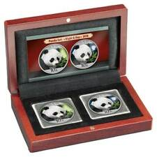 China - 2 x 10 Yuan 2018 - Panda - Night & Day Satz - 2 x 30 gr Silber Farbe ST