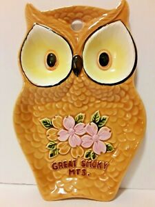 Vintage Japan Ceramic Owl Spoon Rest MINT Great Smoky Mts. with Cherry Blossoms