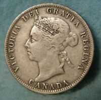 1888 Canada Silver 25 Cents Quarter FINE * Canadian Coin #3977