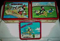 MICKEY MOUSE LUNCH BOX Lot (3) Football Team MM SCHOOL BUS Cowboy Mickey MINT