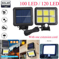 120 LED Solar Powered Wall Light PIR Motion Outdoor Garden Security Flood Lamp