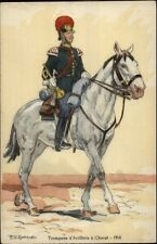 French Military Art PV Robiquet Postcard TROMPETTE d'ARTILLERIE a CHEVAL
