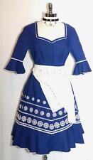 Blue DIRNDL Dress + 2 APRONS Austria Bavarian Trachten POKA DOT Oktoberfest 12 M