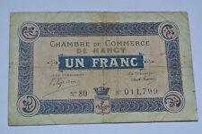 BILLET 1 FRANC CHAMBRE DE COMMERCE DE NANCY 1917
