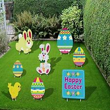 Alimtois 8 Pack Easter Yard Decorations Outdoor, 6.6-15 inch Tall Sign-4