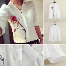Fashion Women Blouse Chiffon Long Sleeve Flower Turn Down Collar White Shirt Top