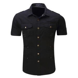 Mens Short Sleeves Jeans Shirts Military Camisas Social Army Cotton Dress Shirts