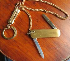 VINTAGE 2 GOLD BLADE POCKET KNIFE with LONG CHAIN - AMBASSADOR USA