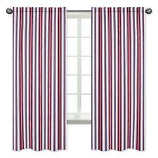 Red White Blue Stripes Window Treatment Panel Curtain For Jojo Nautical Bedding