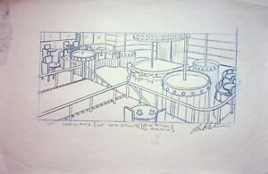 The Simpsons Production SIGNED CHRIS BOLDEN Hand Drawn INTERIOR STRIP CLUB