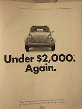 """1972 Volkswagen Beetle Bug Original Print Ad-8.5 x 10.5"""""""