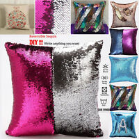 "16"" Magic Mermaid Pillow Case Reversible Sequin Glitter Sofa Cushion Cover Touch"