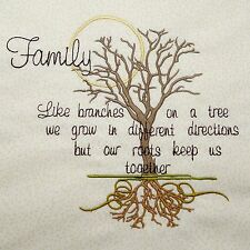 Embroidered Quilt Block Cushion Panel FAMILY TREE Cream Cotton Makower Fabric