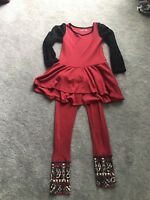 Euc size 7 Jak And Peppar Red Tunic And Size 8 Euc Pants