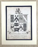 1830 Antique Engraving Family Crest Coat of Arms Robert Henry Allan Durham Print