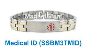 *** Medical ID *** Magnetic Men's stainless steel link bracelet 316L - SSBM3TMID