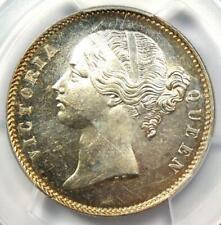 1840-C India British Victoria Rupee 1R - PCGS MS62 - Rare Certified BU UNC Coin
