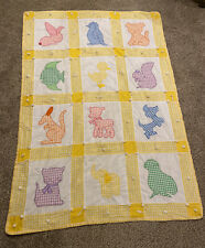 Vintage Baby Nursery Blanket Quilt Pastel Gingham Animals Applique Stitched Tied