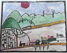 "Charley Kinney 'Tran Going Tunel' 28""x22""....outsider folk art"