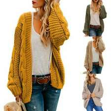 Jumper Womens Chunky Sleeve UK Cardigan Outwear Sweater Long Knitted Coat Jacket