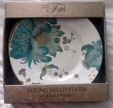 New in Box - 222 Fifth Eliza Teal Salad Plates (4) Matches Peacock Garden Pieces