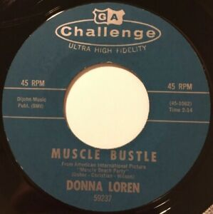 """DONNA LOREN Muscle Bustle / How Can I Face The World 7"""" Single SURF ♫ HEAR ♫"""