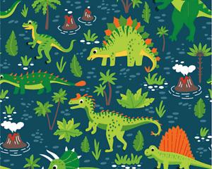 Jersey Dinosaur Cotton green print colourful jungle animal boys SPANDEX