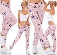 ITALY Damen Hose Baggy Jeans Chino Boyfriend Freizeithose Buchstaben Rosa 34-36