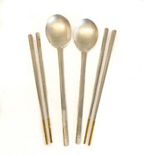 Japanese Solid Silver Serving Spoons and Chopsticks, 20th Century