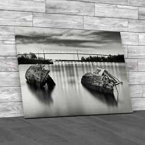 Sunken Boats And The Erskine Bridge Glasgow Canvas Print Large Picture Wall Art