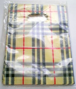 """100 Gift Bags Pouches 9"""" x 6.5"""" Featuring Black, Red & Beige Plaid"""