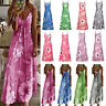 Summer Womens V Neck Strappy Print Long Maxi Dress Boho Beach Sundress Plus Size