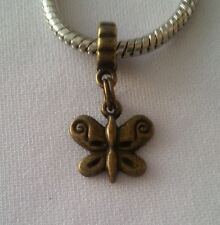 Bronze Tone Butterfly Bug Garden Dangle Bead for European Style Charm Bracelet