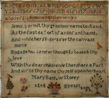 MID 19TH CENTURY VERSE & MOTIF SAMPLER BY MARY BARROW STOREY AGED 8 - c.1845