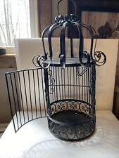Antique Bird Cage Iron Ornate Black Vintage hanging scrolled