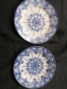 2 sehr seltene Villeroy &Boch Dresden Teller um 1900 Museumsstücke blaues Dekor