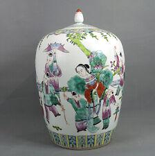 Chine Famille Verte Porcelaine Grande Potiche Milieu 20ème Scène De Cour