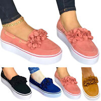 Womens Ladies Flower Platform Pumps Espadrilles Slip On Comfort Loafers Shoes