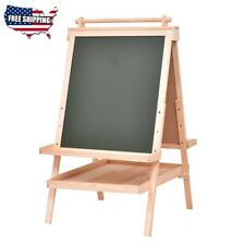 Easels All in One Kids Double Side Wooden Art Easel with Paper Roll Pine wood