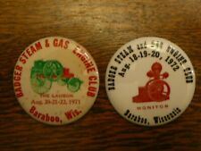 1971 1972 Badger Steam & Gas Engine Club Pinback Buttons Baraboo Wisconsin Wi