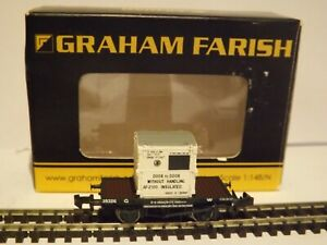 GRAHAM FARISH 377-327A..A CONFLAT WITH AF CONTAINER G.W.R. WHITE MINT/BOXED N GA