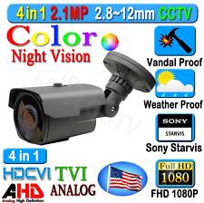 LEXAcctv 4in1 HD Sony Starvis 2.1MP 1080P 2.8-12mm TVI AHD CVI Analog Camera .
